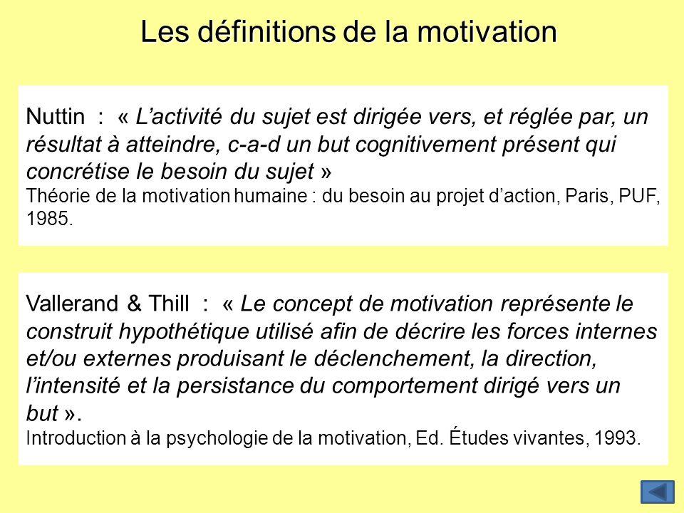 Les définitions de la motivation Nuttin : « Lactivité du sujet est dirigée vers, et réglée par, un résultat à atteindre, c-a-d un but cognitivement pr
