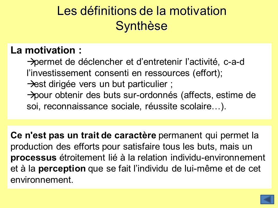 Les définitions de la motivation Synthèse La motivation : permet de déclencher et dentretenir lactivité, c-a-d linvestissement consenti en ressources