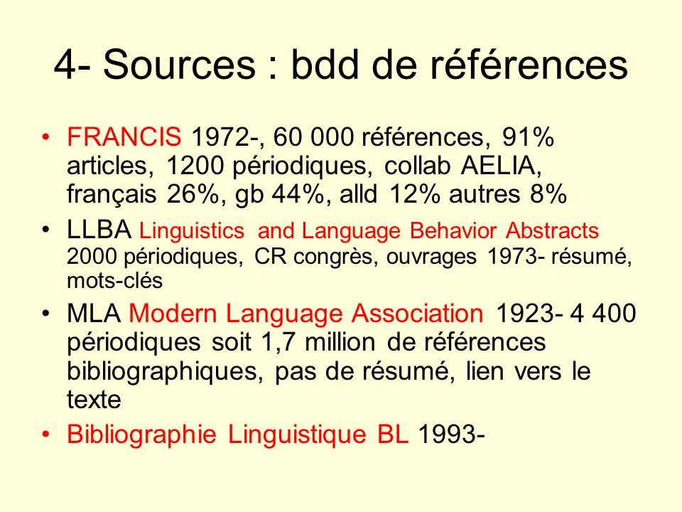 4- Sources : bdd de références FRANCIS 1972-, 60 000 références, 91% articles, 1200 périodiques, collab AELIA, français 26%, gb 44%, alld 12% autres 8