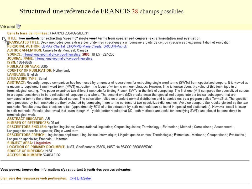 Structure dune référence de FRANCIS 38 champs possibles