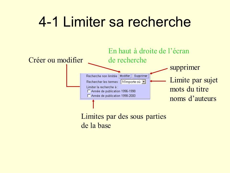 4-1 Limiter sa recherche Créer ou modifier supprimer Limites par des sous parties de la base Limite par sujet mots du titre noms dauteurs En haut à dr