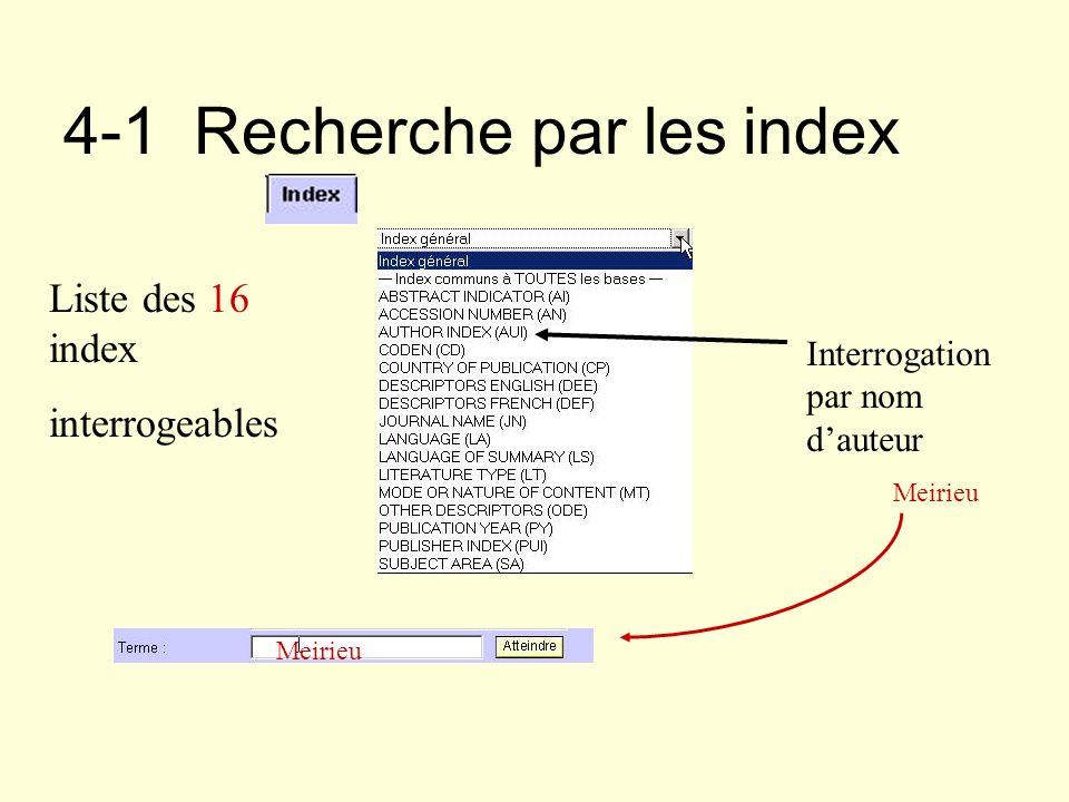 4-1 Recherche par les index Liste des 16 index interrogeables Interrogation par nom dauteur Meirieu