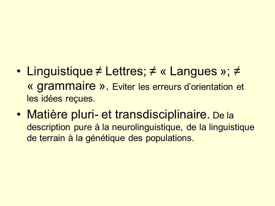 Linguistique Lettres; « Langues »; « grammaire ». Eviter les erreurs dorientation et les idées reçues. Matière pluri- et transdisciplinaire. De la des