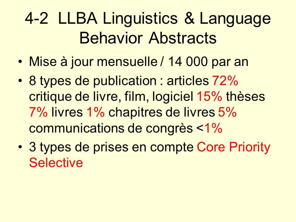4-2 LLBA Linguistics & Language Behavior Abstracts Mise à jour mensuelle / 14 000 par an 8 types de publication : articles 72% critique de livre, film