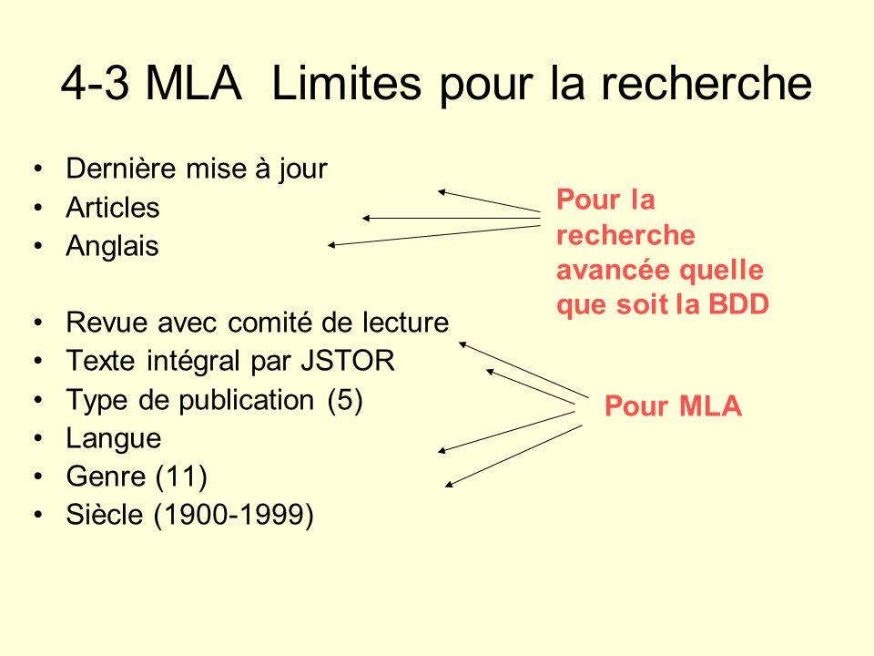 4-3 MLA Limites pour la recherche Dernière mise à jour Articles Anglais Revue avec comité de lecture Texte intégral par JSTOR Type de publication (5)