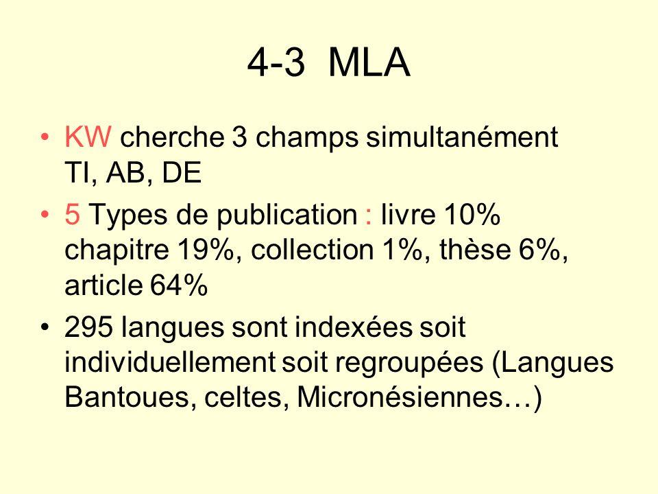 4-3 MLA KW cherche 3 champs simultanément TI, AB, DE 5 Types de publication : livre 10% chapitre 19%, collection 1%, thèse 6%, article 64% 295 langues
