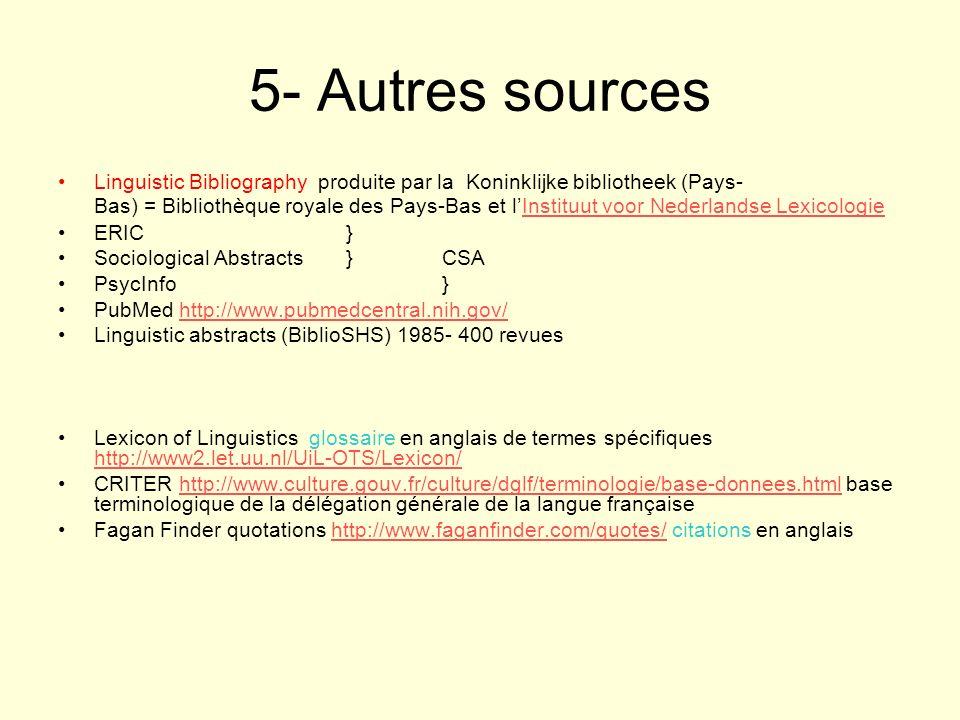 5- Autres sources Linguistic Bibliography produite par la Koninklijke bibliotheek (Pays- Bas) = Bibliothèque royale des Pays-Bas et lInstituut voor Ne