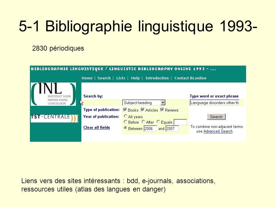 5-1 Bibliographie linguistique 1993- 2830 périodiques Liens vers des sites intéressants : bdd, e-journals, associations, ressources utiles (atlas des