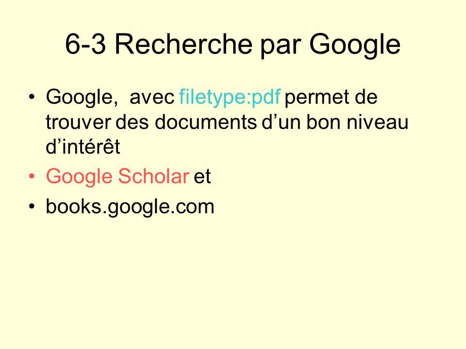 6-3 Recherche par Google Google, avec filetype:pdf permet de trouver des documents dun bon niveau dintérêt Google Scholar et books.google.com