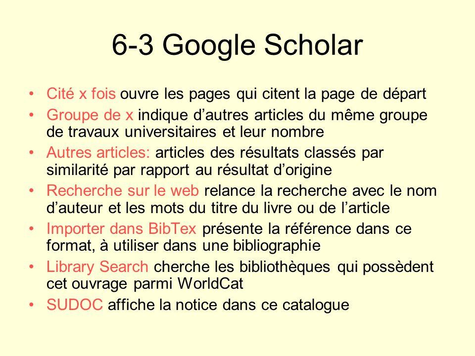 Cité x fois ouvre les pages qui citent la page de départ Groupe de x indique dautres articles du même groupe de travaux universitaires et leur nombre