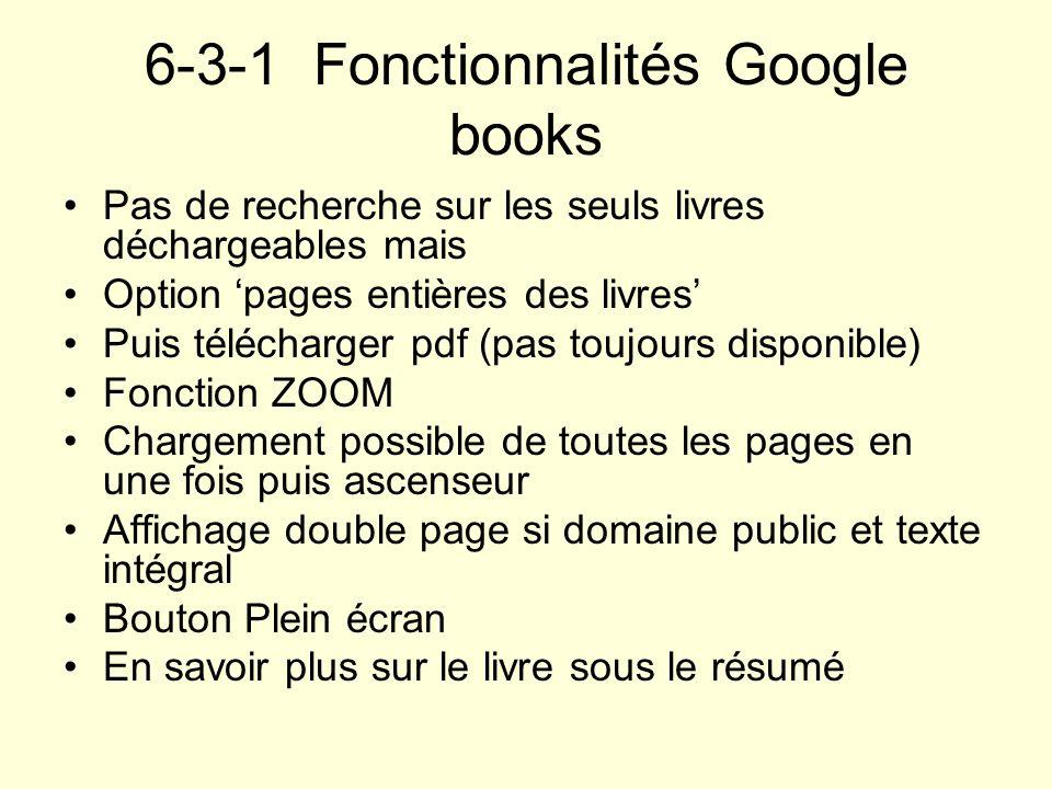 6-3-1 Fonctionnalités Google books Pas de recherche sur les seuls livres déchargeables mais Option pages entières des livres Puis télécharger pdf (pas