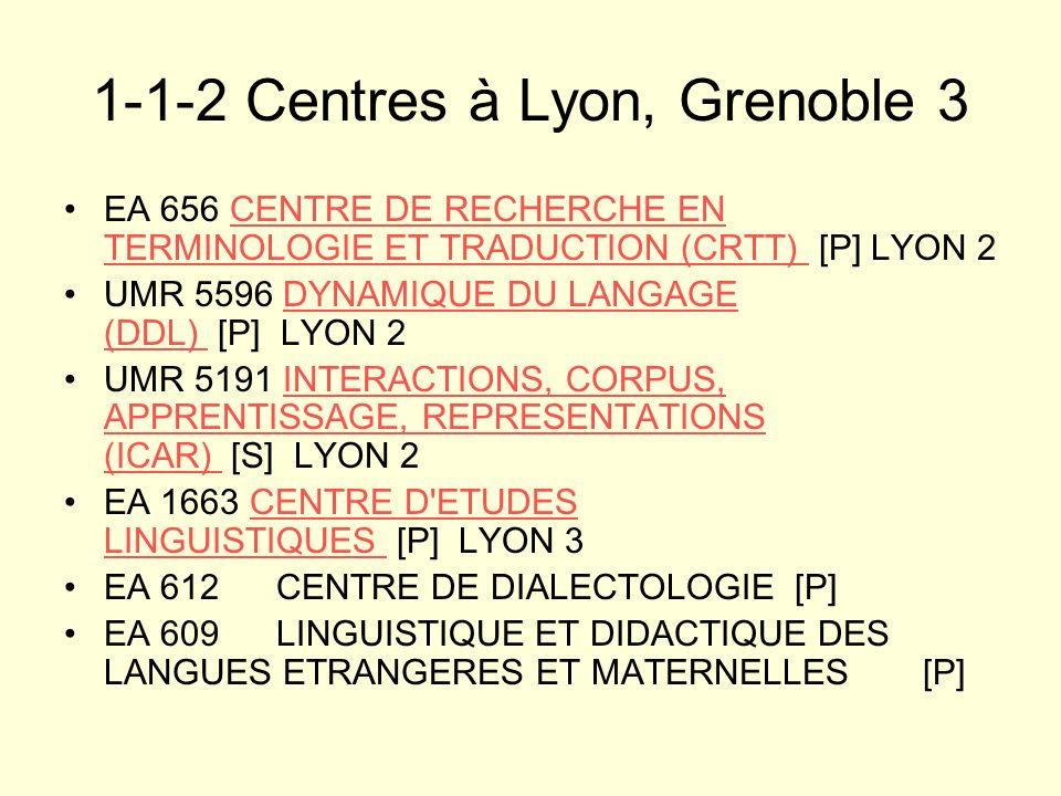 1-1-2 Centres à Lyon, Grenoble 3 EA 656 CENTRE DE RECHERCHE EN TERMINOLOGIE ET TRADUCTION (CRTT) [P] LYON 2CENTRE DE RECHERCHE EN TERMINOLOGIE ET TRAD