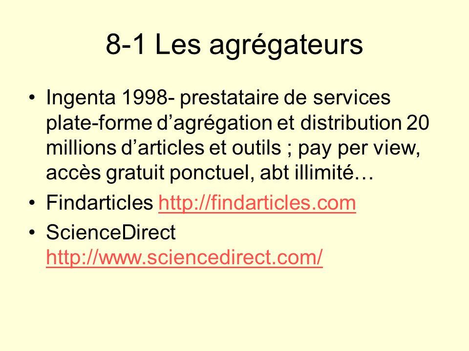 8-1 Les agrégateurs Ingenta 1998- prestataire de services plate-forme dagrégation et distribution 20 millions darticles et outils ; pay per view, accè