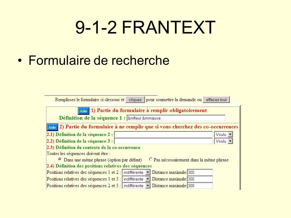 9-1-2 FRANTEXT Formulaire de recherche