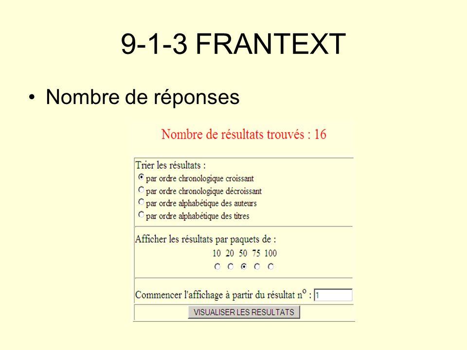9-1-3 FRANTEXT Nombre de réponses