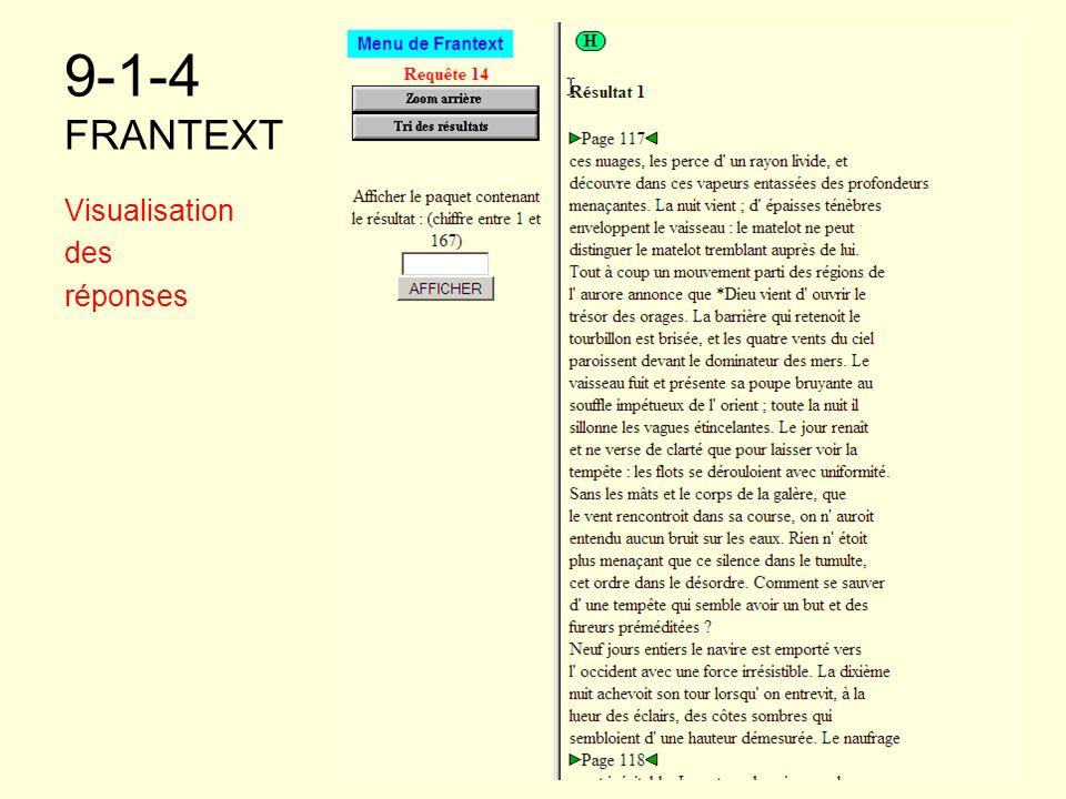 9-1-4 FRANTEXT Visualisation des réponses