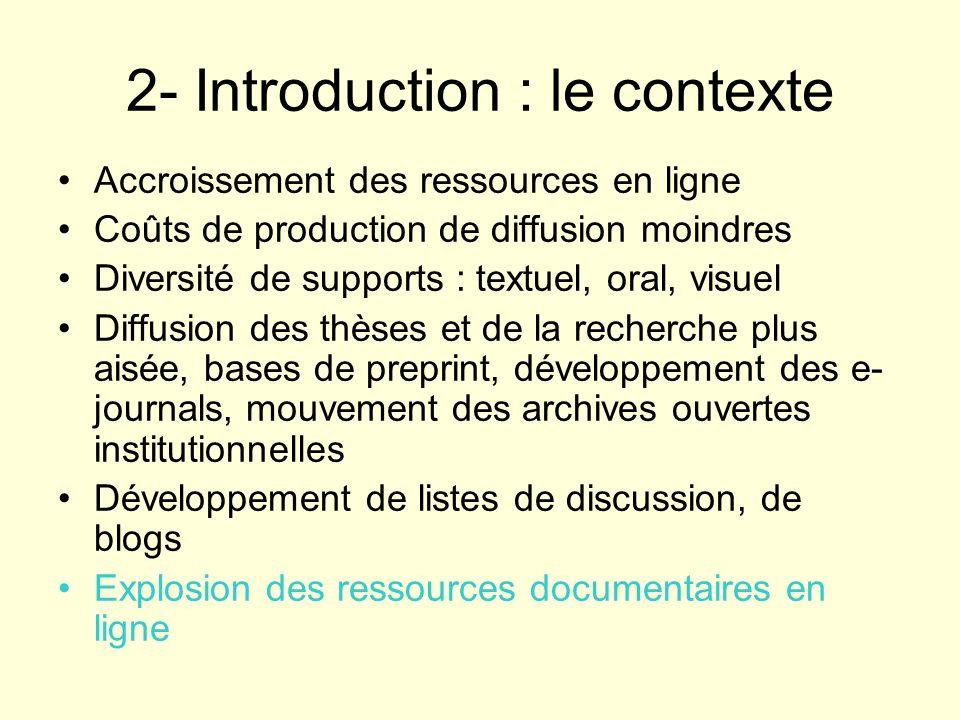 2- Introduction : le contexte Accroissement des ressources en ligne Coûts de production de diffusion moindres Diversité de supports : textuel, oral, v