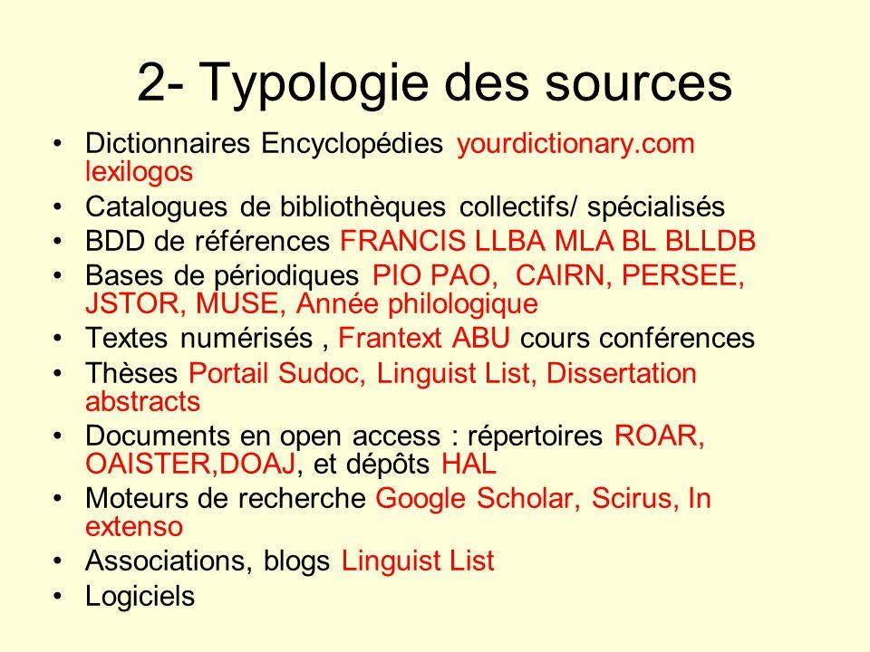 2- Typologie des sources Dictionnaires Encyclopédies yourdictionary.com lexilogos Catalogues de bibliothèques collectifs/ spécialisés BDD de référence