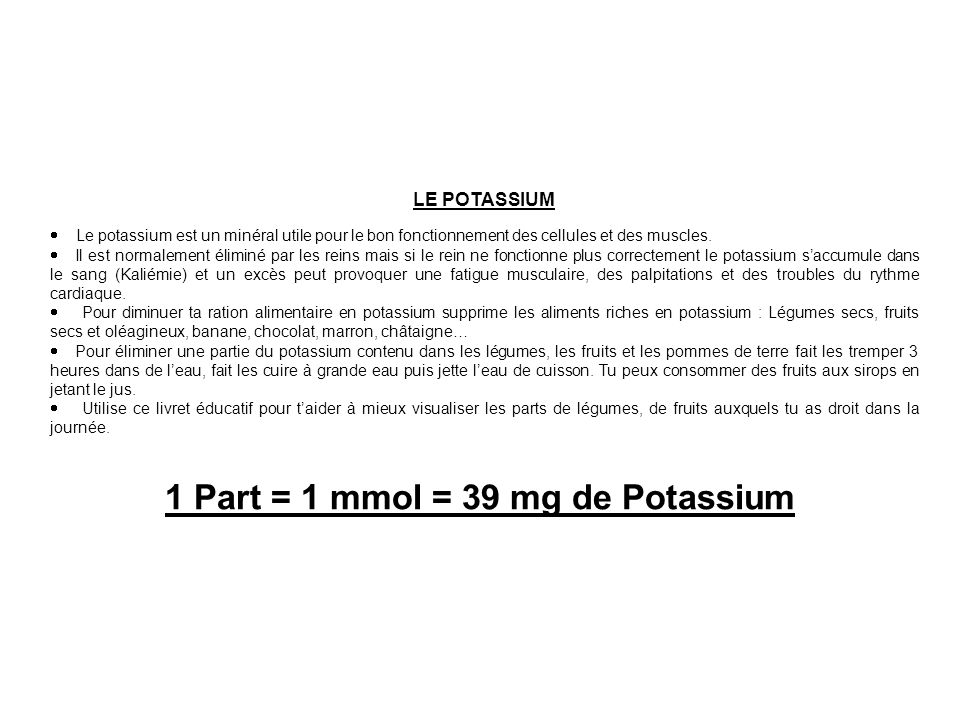 Quantité: 45 g Potassium: 3 mmol Quantité: 90 g Potassium: 6 mmol « La bette à carde » est un légume feuille.