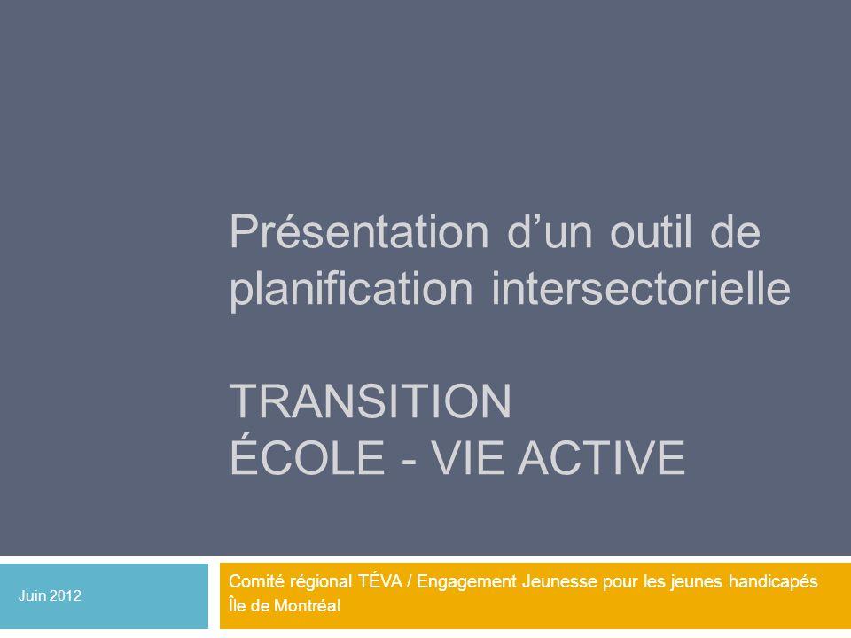 Présentation dun outil de planification intersectorielle TRANSITION ÉCOLE - VIE ACTIVE Comité régional TÉVA / Engagement Jeunesse pour les jeunes hand