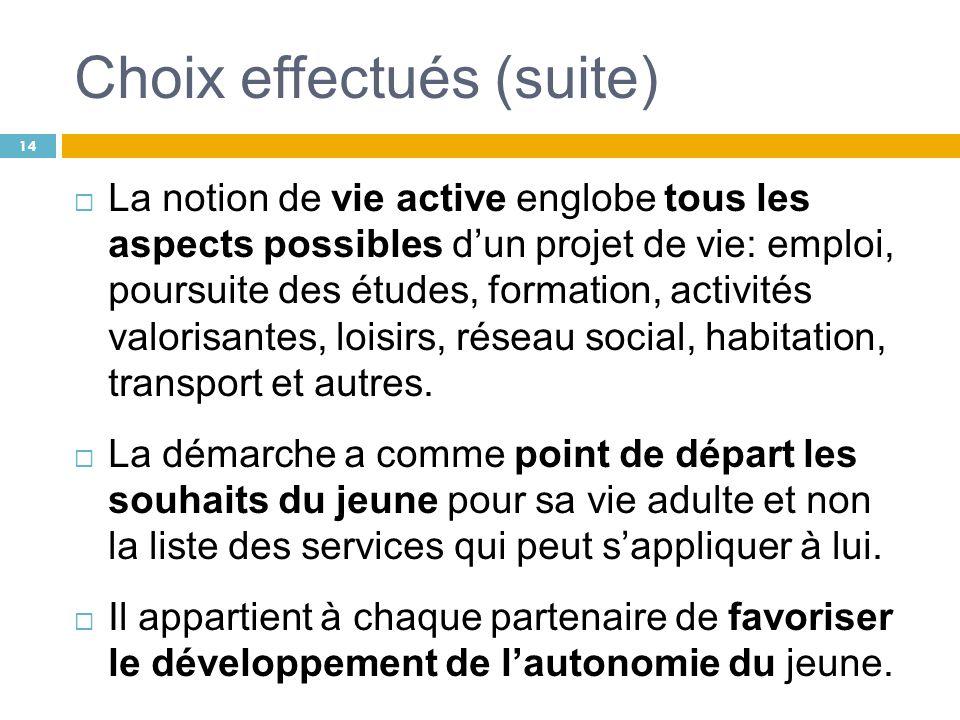 Choix effectués (suite) La notion de vie active englobe tous les aspects possibles dun projet de vie: emploi, poursuite des études, formation, activit