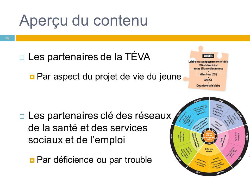 Aperçu du contenu 18 Les partenaires de la TÉVA Par aspect du projet de vie du jeune Les partenaires clé des réseaux de la santé et des services socia
