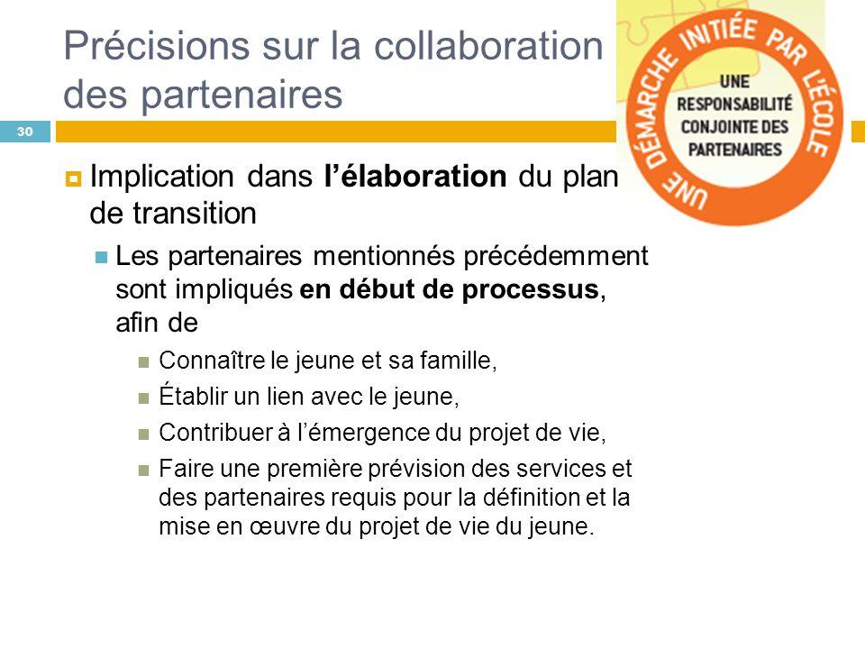 Précisions sur la collaboration des partenaires 30 Implication dans lélaboration du plan de transition Les partenaires mentionnés précédemment sont im
