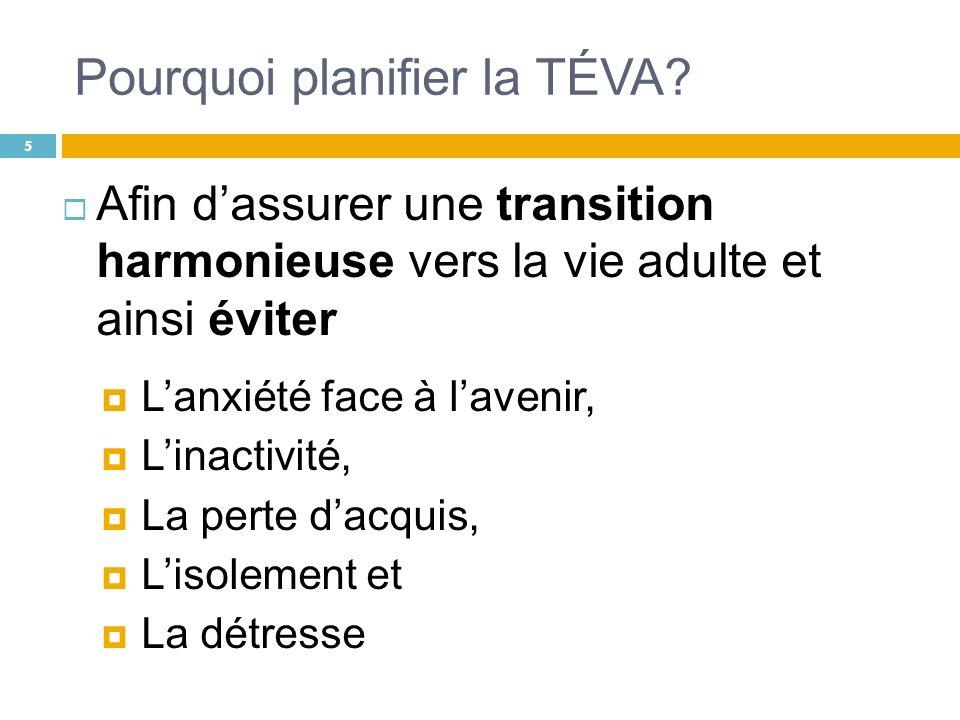 Pourquoi planifier la TÉVA? Afin dassurer une transition harmonieuse vers la vie adulte et ainsi éviter Lanxiété face à lavenir, Linactivité, La perte