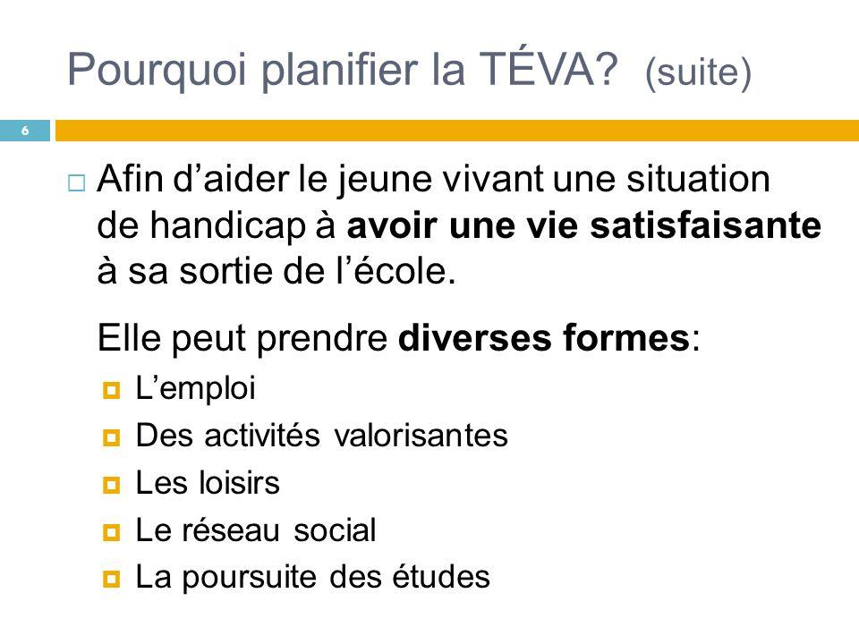 Intentions poursuivies Illustrer la diversité des services pouvant être offerts dans le cadre dune démarche de TÉVA.