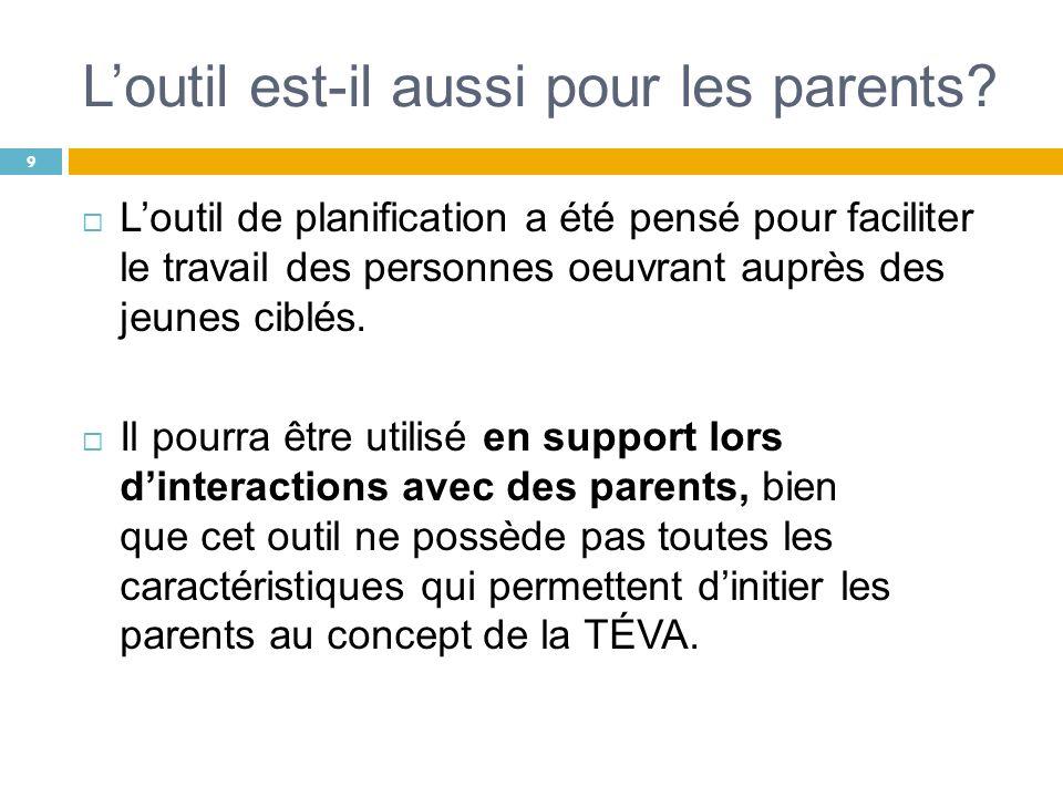 Loutil est-il aussi pour les parents? Loutil de planification a été pensé pour faciliter le travail des personnes oeuvrant auprès des jeunes ciblés. I