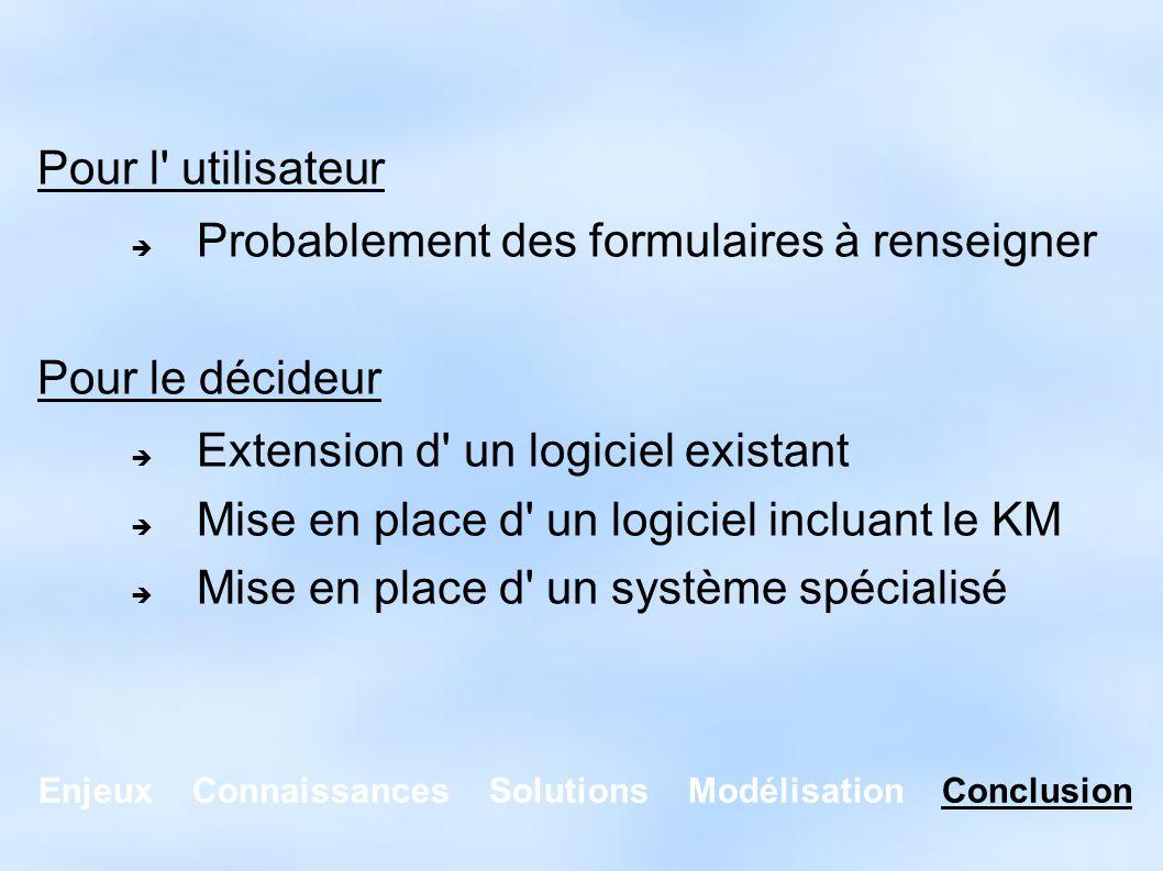 Enjeux Connaissances Solutions Modélisation Conclusion Pour l' utilisateur Probablement des formulaires à renseigner Pour le décideur Extension d' un