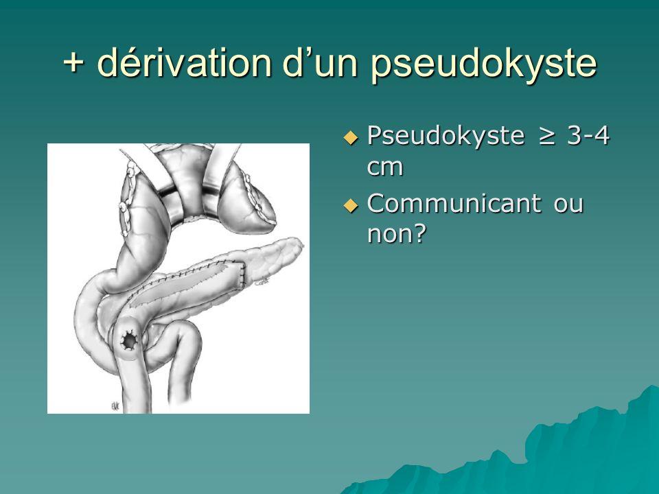 + dérivation dun pseudokyste Pseudokyste 3-4 cm Pseudokyste 3-4 cm Communicant ou non? Communicant ou non?
