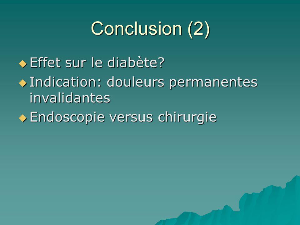 Conclusion (2) Effet sur le diabète? Effet sur le diabète? Indication: douleurs permanentes invalidantes Indication: douleurs permanentes invalidantes