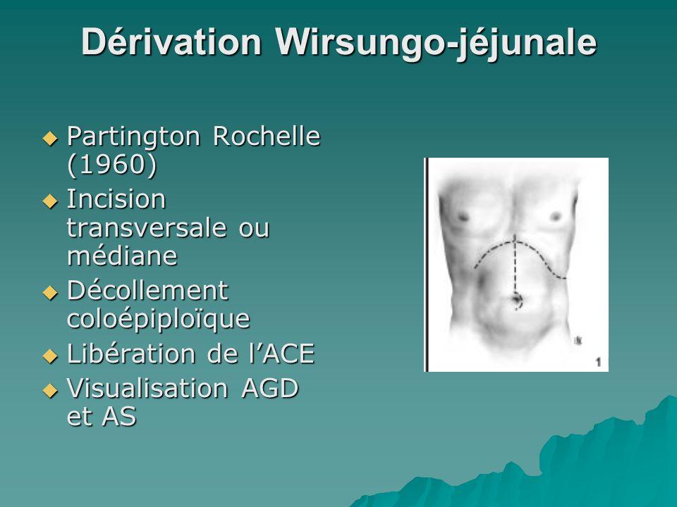 Double dérivation Anastomose wirsungojéjunale et dérivation biliaire Anastomose wirsungojéjunale et dérivation biliaire –Cholestase 3mois –Ict è re –chol é cystectomie Anse 70 cm Anastomose biliaire à 50-60 cm Termino-latérale
