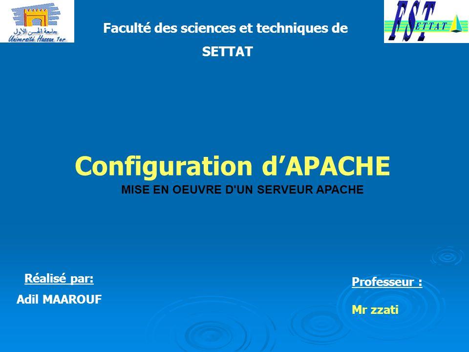 Le fichier de configuration d Apache se nomme httpd.conf et est placé dans le répertoire conf/ du répertoire d Apache dans le cas d une installation manuelle (par exemple /usr/local/apache/conf/ ).