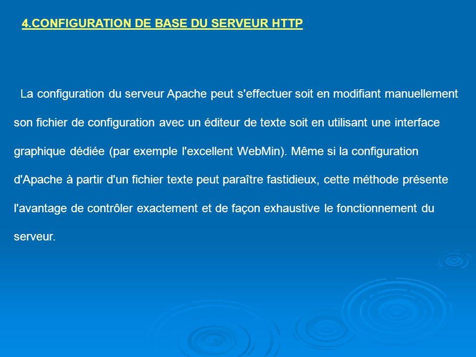 4.CONFIGURATION DE BASE DU SERVEUR HTTP La configuration du serveur Apache peut s'effectuer soit en modifiant manuellement son fichier de configuratio