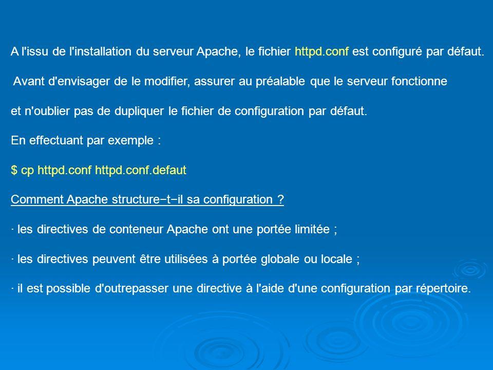 A l'issu de l'installation du serveur Apache, le fichier httpd.conf est configuré par défaut. Avant d'envisager de le modifier, assurer au préalable q