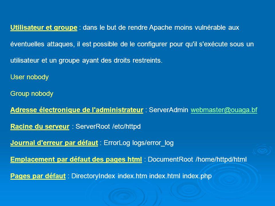 Utilisateur et groupe : dans le but de rendre Apache moins vulnérable aux éventuelles attaques, il est possible de le configurer pour qu'il s'exécute