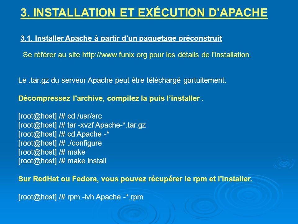 3. INSTALLATION ET EXÉCUTION D'APACHE 3.1. Installer Apache à partir d'un paquetage préconstruit Se référer au site http://www.funix.org pour les déta