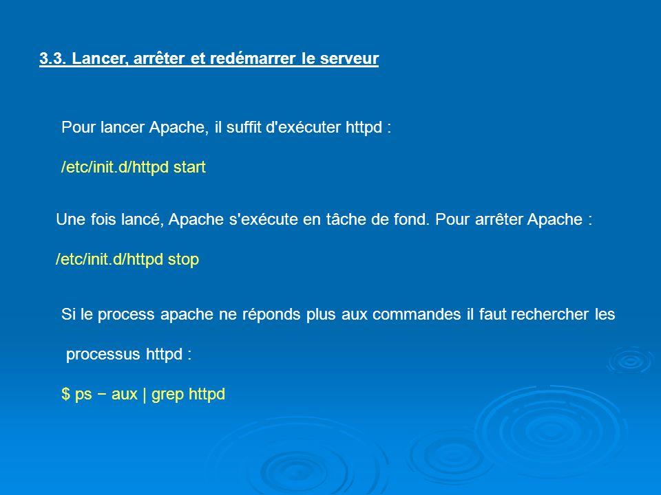 3.3. Lancer, arrêter et redémarrer le serveur Pour lancer Apache, il suffit d'exécuter httpd : /etc/init.d/httpd start Une fois lancé, Apache s'exécut