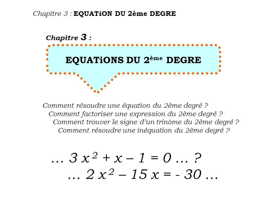 COURS …COURS …COURS …COURS …COURS …COURS 1.UN PEU DE VOCABULAiRE Chapitre 3 : EQUATiON DU 2ème DEGRE Exemple : 3 x 2 + 4 x – 5 = 0 Cas général : ab c a x 2 + b x + c = 0 2 ème degré 2 ème membre toujours = 0 sinon le ramener à = 0 équation 1 er membre : expression du 2 ème degré appelée : polynôme ou trinôme du 2 ème degré abc a, b et c sont les coefficients ( ici a = 3 b = 4 et c = - 5 )