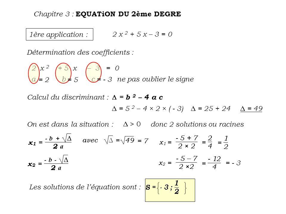 Chapitre 3 : EQUATiON DU 2ème DEGRE 2ème application : - 4 x 2 - 4 x – 1 = 0 Détermination des coefficients : a = b = c =- 4 - 1 Calcul du discriminant : = b 2 – 4 a c = ( - 4 ) 2 – 4 × ( - 4 ) × ( - 1) = 16 - 16 = 0 On est dans la situation : = 0 donc 1 solution double La solution de léquation est :