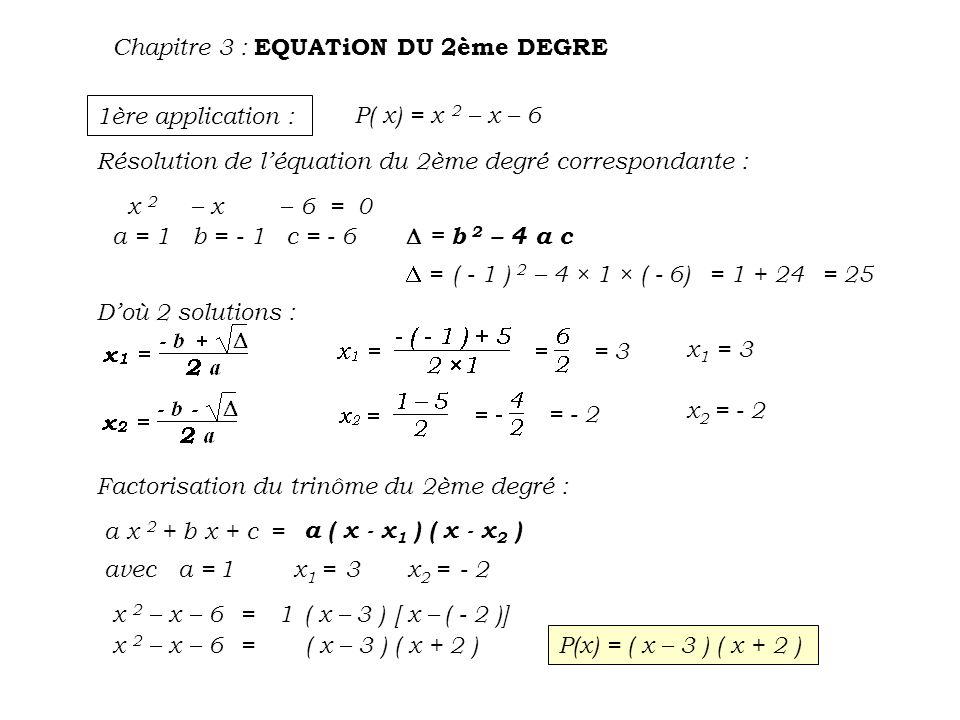 Chapitre 3 : EQUATiON DU 2ème DEGRE 2 ème application : P( x) = - 5 x 2 – 10 x – 5 Résolution de léquation du 2ème degré correspondante : - 5 x 2 – 10 x – 5 = 0 a = - 5 b = - 10 c = - 5 = b 2 – 4 a c = ( - 10 ) 2 – 4 × ( - 5 ) × ( - 5 )= 100 - 100= 0 Doù 1 solution : Factorisation du trinôme du 2ème degré : a x 2 + b x + c= a ( x - x 1,2 ) 2 avec a = x 1,2 = - 5 x 2 – 10 x – 5= - 5 [ x –( - 1)] 2 - 5 x 2 – 10x – 5= - 5 ( x + 1 ) 2 P(x) = -5 ( x + 1 ) 2 - 5- 1 = -1 x 1,2 = - 1