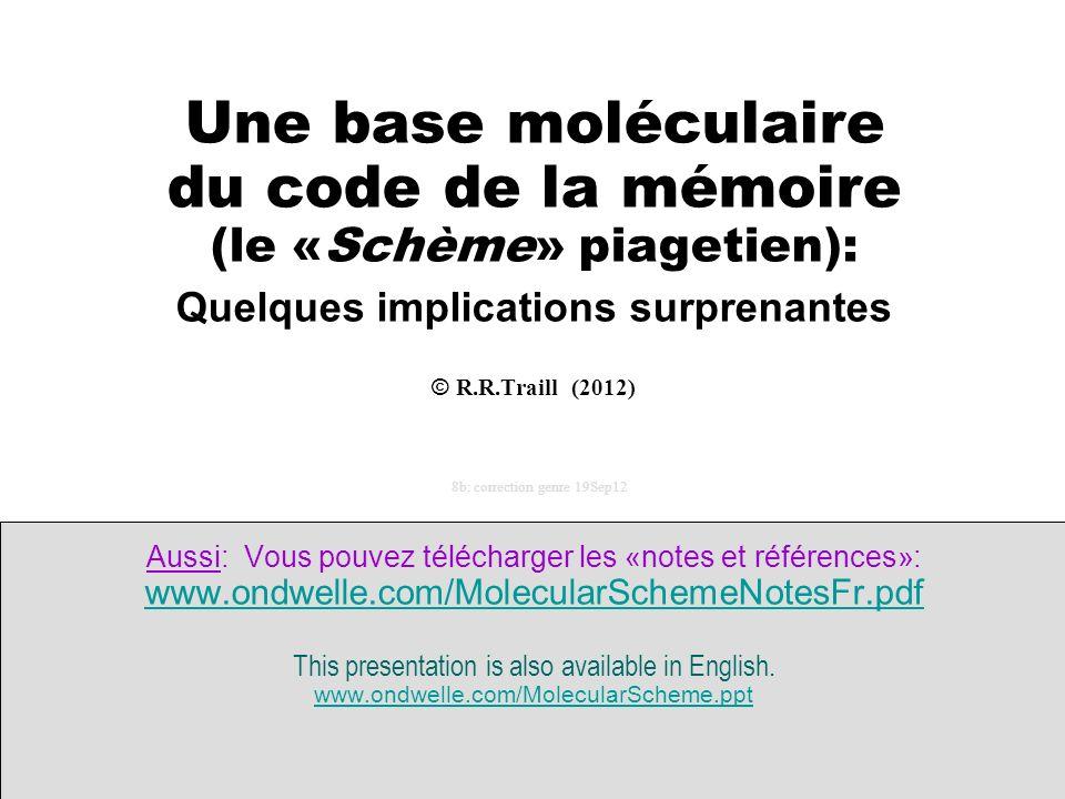 ------- Une base moléculaire du code de la mémoire (le «Schème» piagetien): Quelques implications surprenantes © R.R.Traill (2012) 8b: correction genr