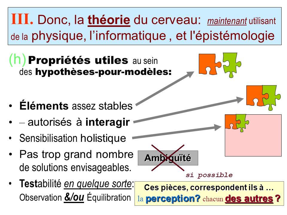 (h) Propriétés utiles au sein des hypothèses-pour-modèles: III. Donc, la théorie du cerveau: maintenant utilisant de la physique, linformatique, et l'