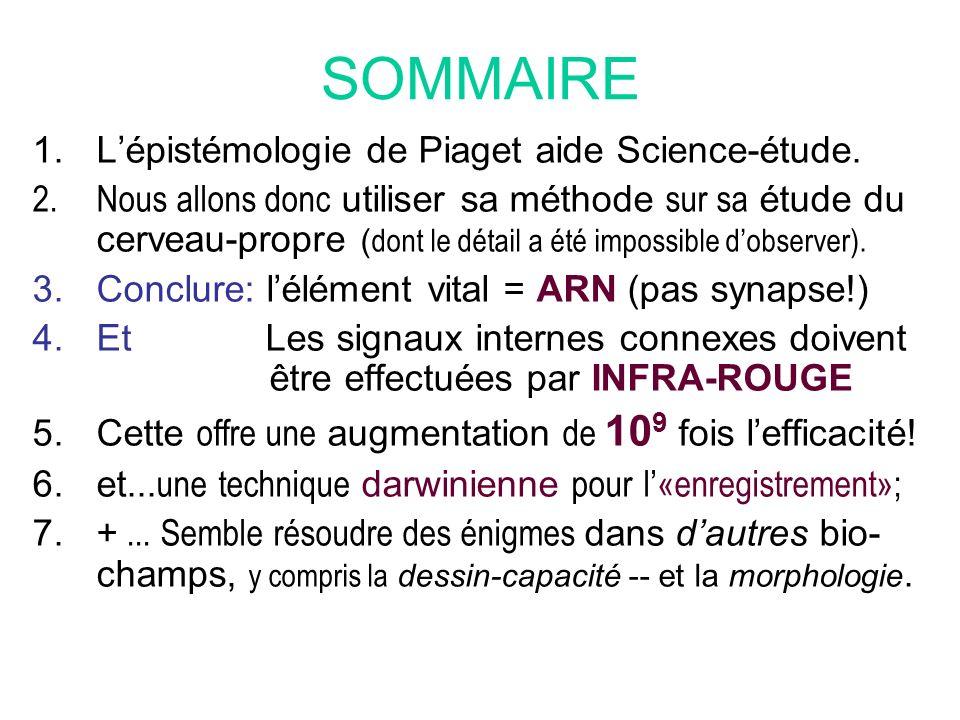 SOMMAIRE 1.Lépistémologie de Piaget aide Science-étude. 2.Nous allons donc utiliser sa méthode sur sa étude du cerveau-propre ( dont le détail a été i