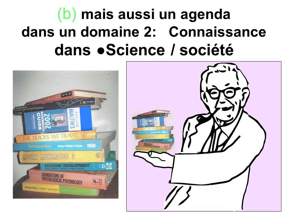 (b) mais aussi un agenda dans un domaine 2: Connaissance dans Science / société