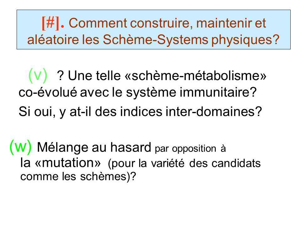 (v) ? Une telle «schème-métabolisme» co-évolué avec le système immunitaire? Si oui, y at-il des indices inter-domaines? [#]. Comment construire, maint