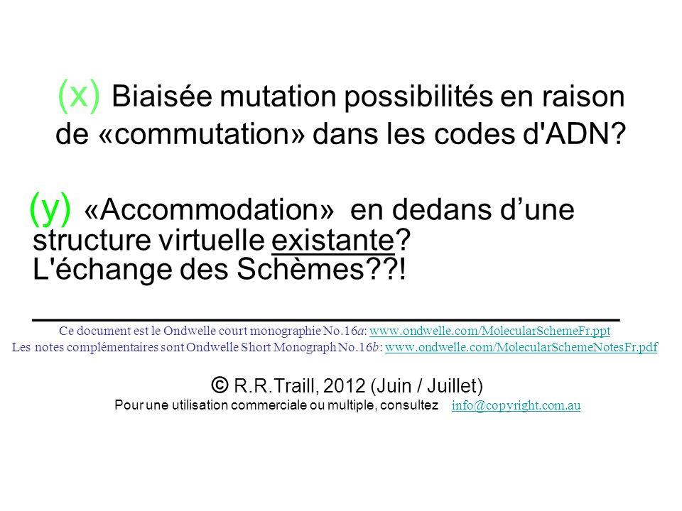 (x) Biaisée mutation possibilités en raison de «commutation» dans les codes d'ADN? (y) «Accommodation» en dedans dune structure virtuelle existante? L