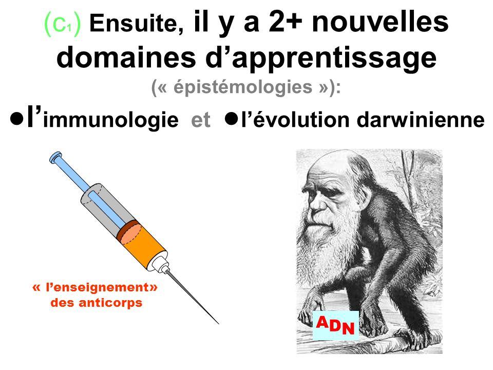(c 1 ) Ensuite, il y a 2+ nouvelles domaines dapprentissage (« épistémologies »): l immunologie et lévolution darwinienne « lenseignement » des antico